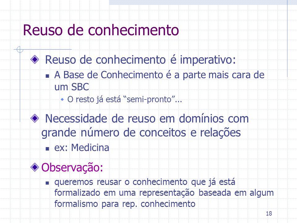 """18 Reuso de conhecimento Reuso de conhecimento é imperativo: A Base de Conhecimento é a parte mais cara de um SBC  O resto já está """"semi-pronto""""... N"""