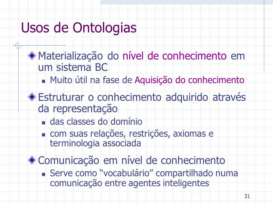31 Usos de Ontologias Materialização do nível de conhecimento em um sistema BC Muito útil na fase de Aquisição do conhecimento Estruturar o conhecimen