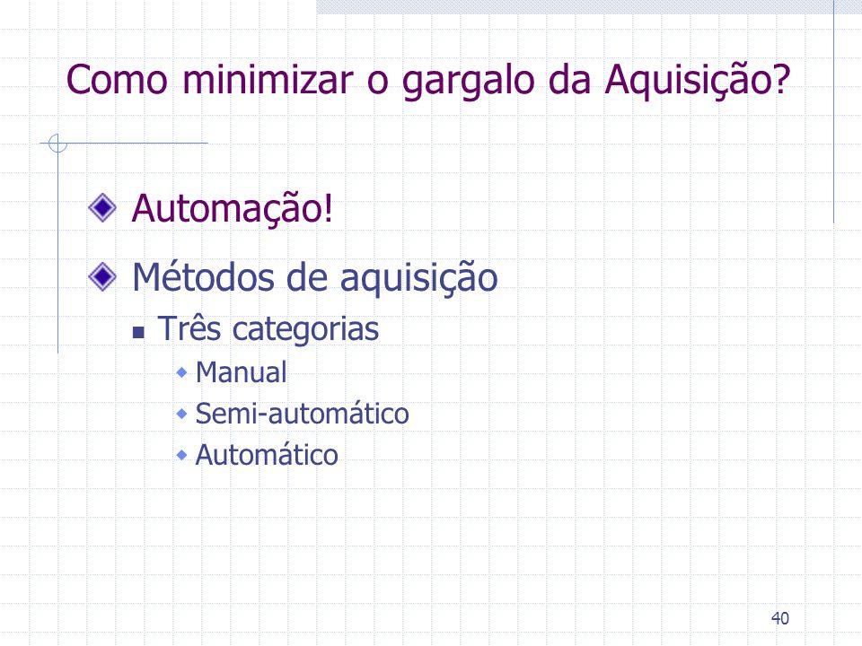 40 Como minimizar o gargalo da Aquisição? Automação! Métodos de aquisição Três categorias  Manual  Semi-automático  Automático