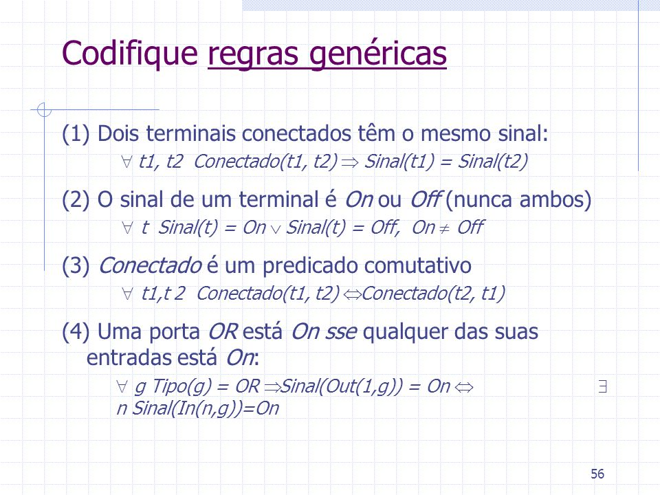 56 Codifique regras genéricas (1) Dois terminais conectados têm o mesmo sinal:  t1, t2 Conectado(t1, t2)  Sinal(t1) = Sinal(t2) (2) O sinal de um