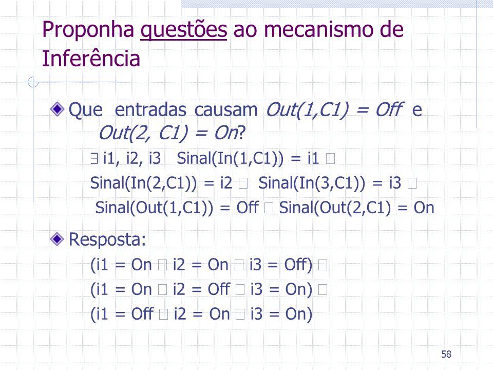 58 Proponha questões ao mecanismo de Inferência Que entradas causam Out(1,C1) = Off e Out(2, C1) = On?  i1, i2, i3 Sinal(In(1,C1)) = i1  Sinal(In(2