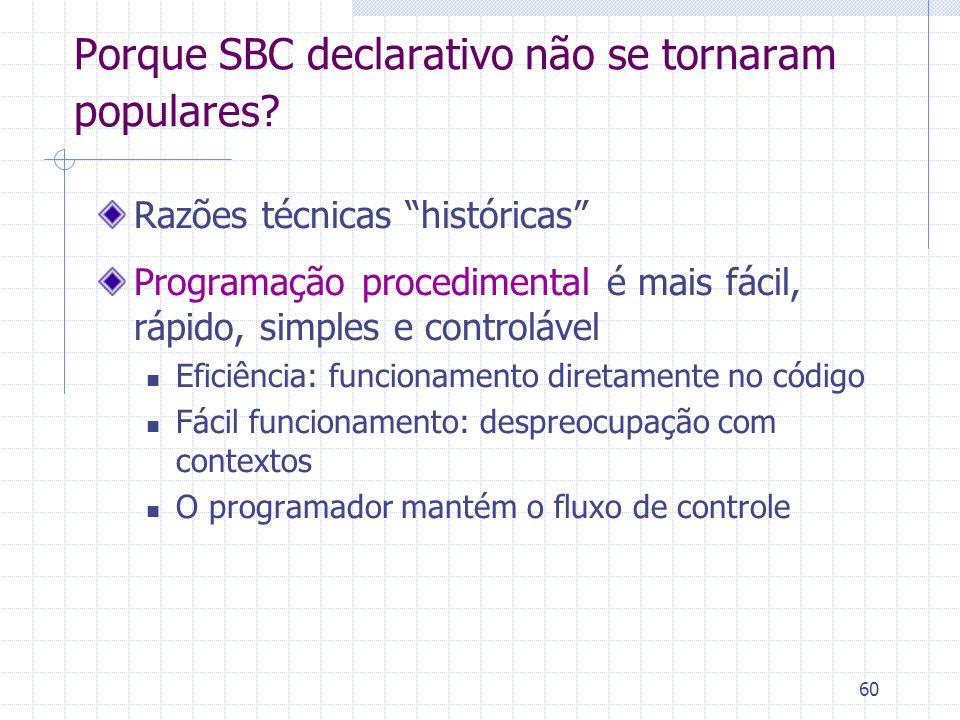 """60 Porque SBC declarativo não se tornaram populares? Razões técnicas """"históricas"""" Programação procedimental é mais fácil, rápido, simples e controláve"""