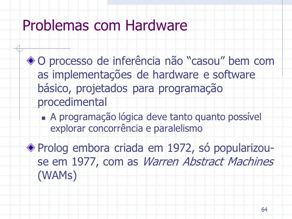"""64 Problemas com Hardware O processo de inferência não """"casou"""" bem com as implementações de hardware e software básico, projetados para programação pr"""