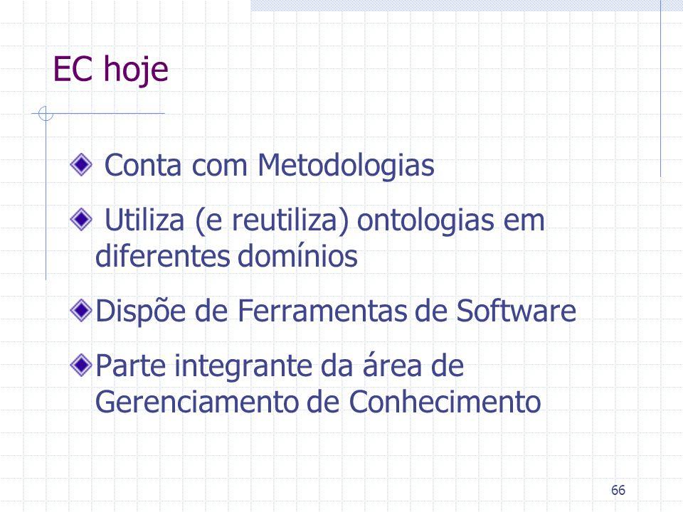 66 EC hoje Conta com Metodologias Utiliza (e reutiliza) ontologias em diferentes domínios Dispõe de Ferramentas de Software Parte integrante da área d