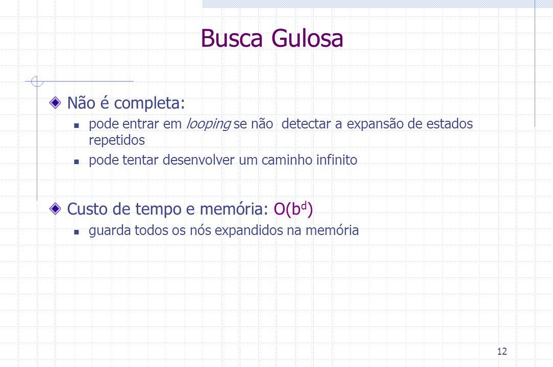 12 Busca Gulosa Não é completa: pode entrar em looping se não detectar a expansão de estados repetidos pode tentar desenvolver um caminho infinito Cus