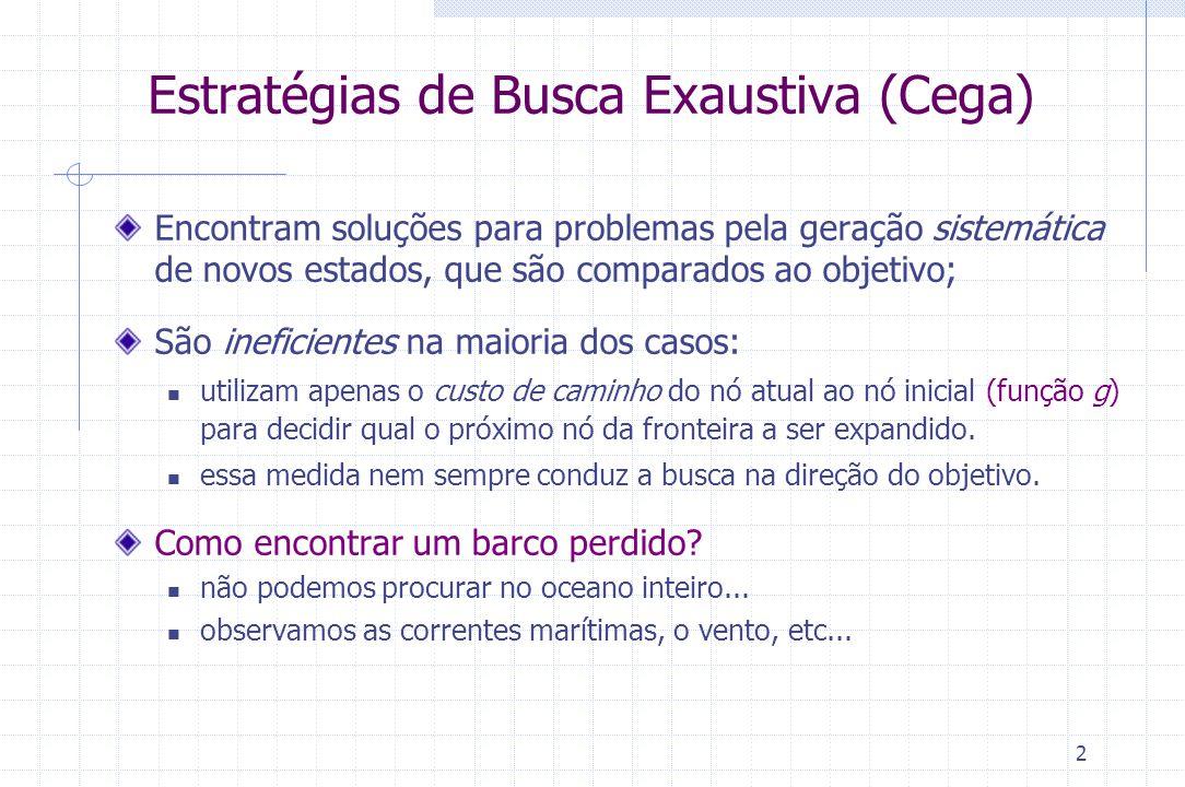 3 Estratégias Busca Heurística (Informada) Utilizam conhecimento específico do problema na escolha do próximo nó a ser expandido barco perdido  correntes marítimas, vento, etc...