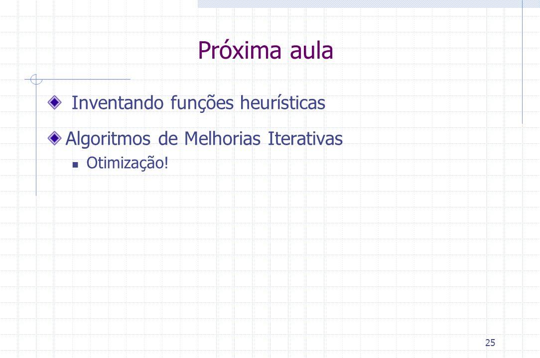 25 Próxima aula Inventando funções heurísticas Algoritmos de Melhorias Iterativas Otimização!