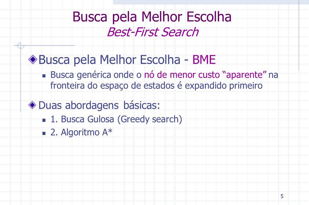 """5 Busca pela Melhor Escolha Best-First Search Busca pela Melhor Escolha - BME Busca genérica onde o nó de menor custo """"aparente"""" na fronteira do espaç"""