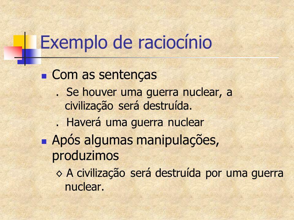 Exemplo de raciocínio Com as sentenças.