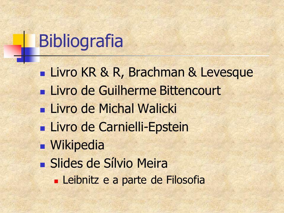 Bibliografia Livro KR & R, Brachman & Levesque Livro de Guilherme Bittencourt Livro de Michal Walicki Livro de Carnielli-Epstein Wikipedia Slides de Sílvio Meira Leibnitz e a parte de Filosofia