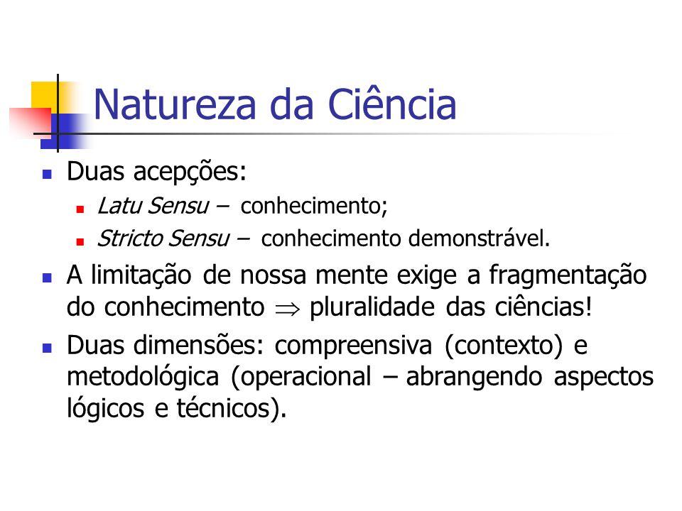 Natureza da Ciência Duas acepções: Latu Sensu – conhecimento; Stricto Sensu – conhecimento demonstrável. A limitação de nossa mente exige a fragmentaç