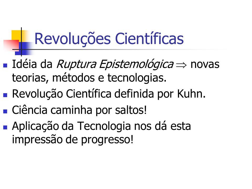 Revoluções Científicas Idéia da Ruptura Epistemológica  novas teorias, métodos e tecnologias. Revolução Científica definida por Kuhn. Ciência caminha