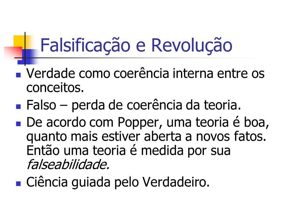 Falsificação e Revolução Verdade como coerência interna entre os conceitos. Falso – perda de coerência da teoria. De acordo com Popper, uma teoria é b