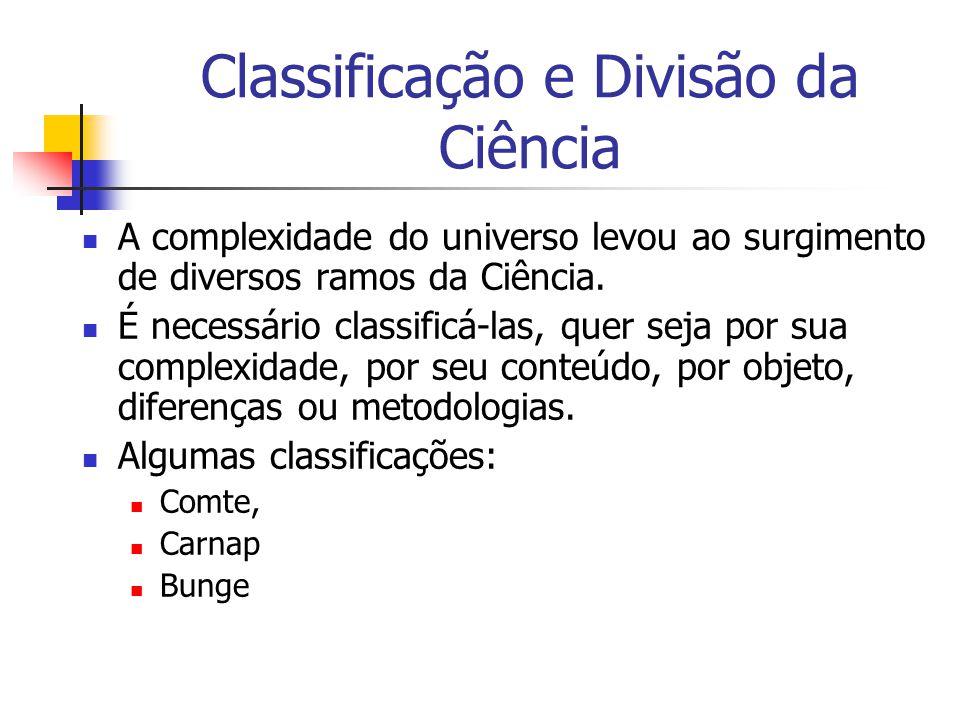 Classificação e Divisão da Ciência A complexidade do universo levou ao surgimento de diversos ramos da Ciência. É necessário classificá-las, quer seja