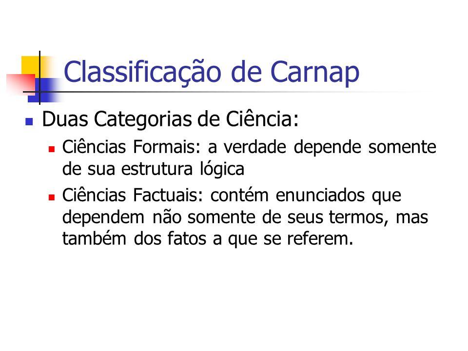 Classificação de Carnap Duas Categorias de Ciência: Ciências Formais: a verdade depende somente de sua estrutura lógica Ciências Factuais: contém enunciados que dependem não somente de seus termos, mas também dos fatos a que se referem.