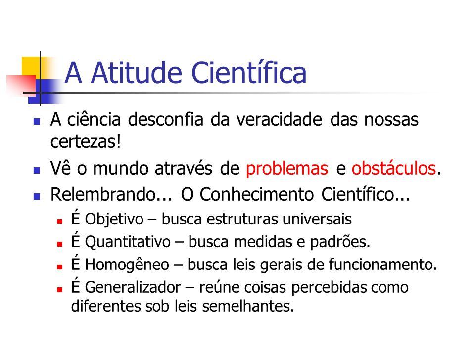 A Atitude Científica A ciência desconfia da veracidade das nossas certezas! Vê o mundo através de problemas e obstáculos. Relembrando... O Conheciment