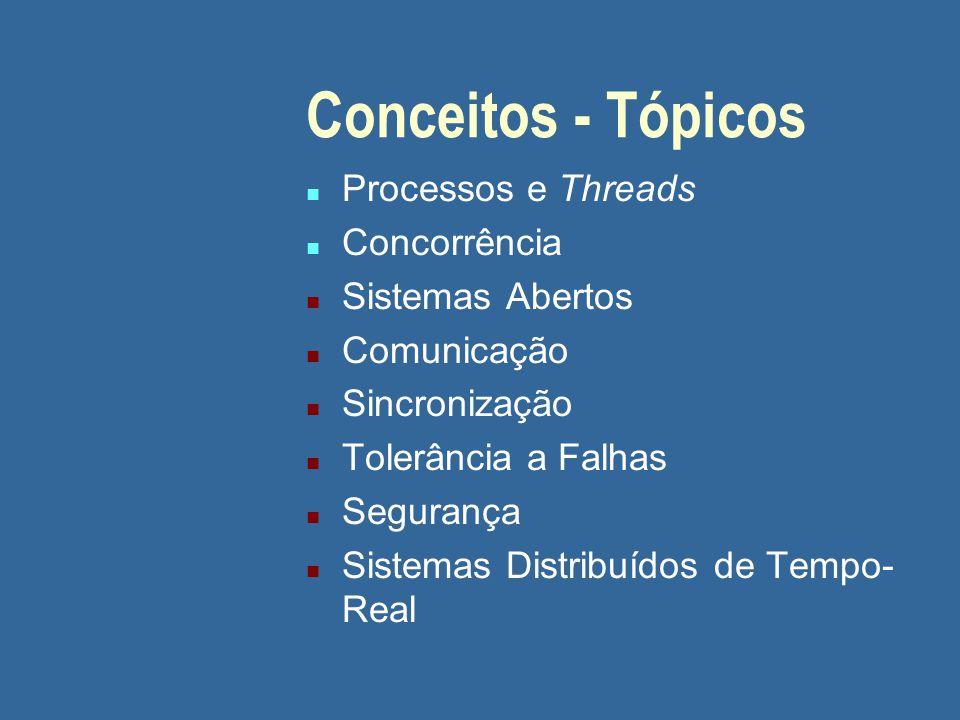 Conceitos - Tópicos n Processos e Threads n Concorrência n Sistemas Abertos n Comunicação n Sincronização n Tolerância a Falhas n Segurança n Sistemas