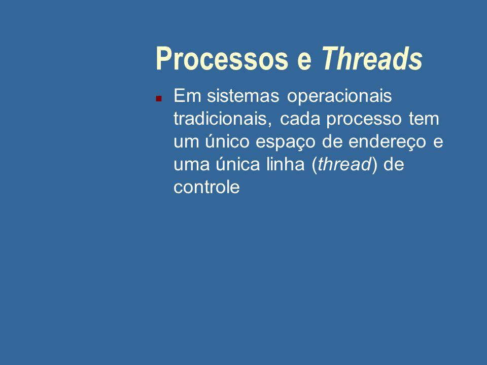 Processos e Threads n Em sistemas operacionais tradicionais, cada processo tem um único espaço de endereço e uma única linha (thread) de controle