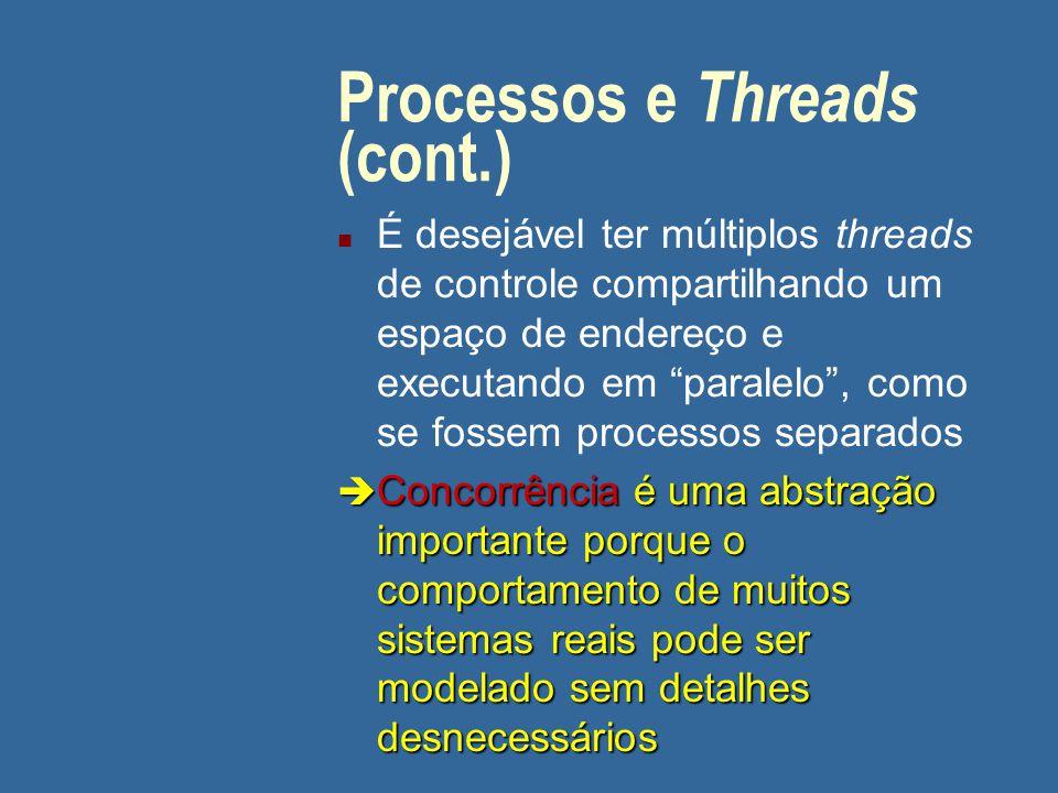 """Processos e Threads (cont.) n É desejável ter múltiplos threads de controle compartilhando um espaço de endereço e executando em """"paralelo"""", como se f"""