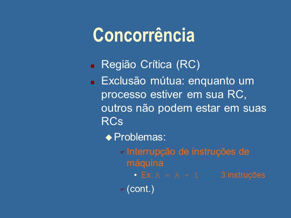 Concorrência n Região Crítica (RC) n Exclusão mútua: enquanto um processo estiver em sua RC, outros não podem estar em suas RCs u Problemas: F Interru