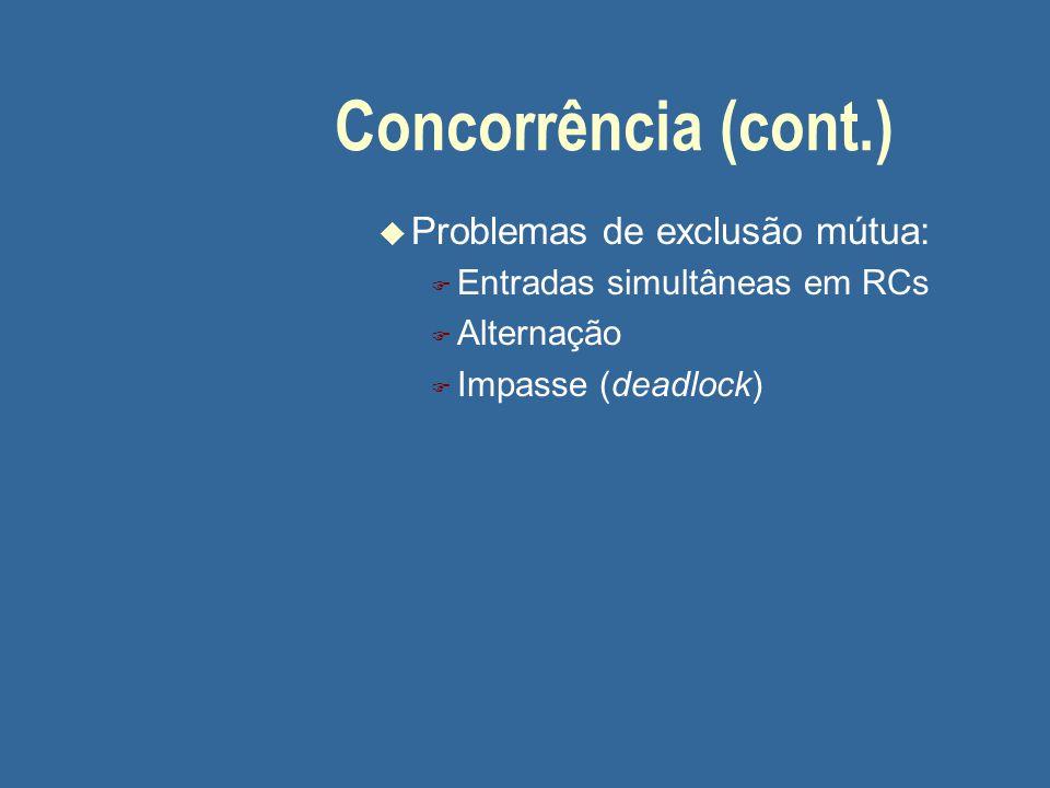 Concorrência (cont.) u Problemas de exclusão mútua: F Entradas simultâneas em RCs F Alternação F Impasse (deadlock)