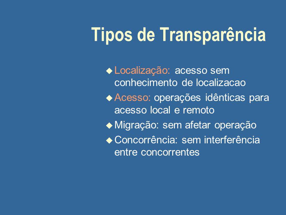Tipos de Transparência u Localização: acesso sem conhecimento de localizacao u Acesso: operações idênticas para acesso local e remoto u Migração: sem