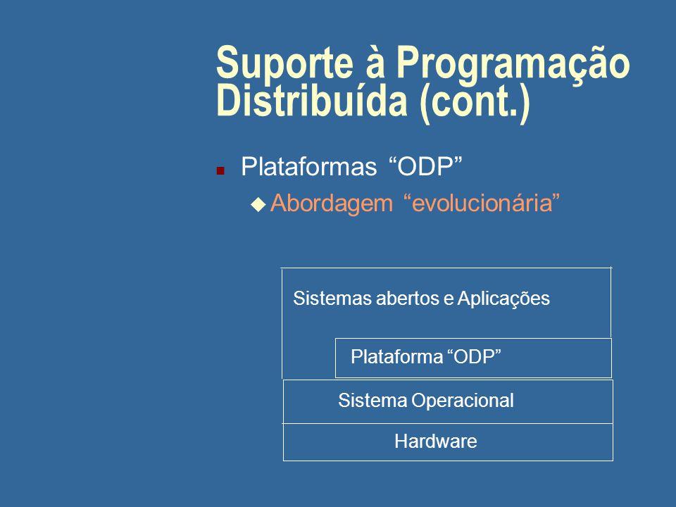 """Suporte à Programação Distribuída (cont.) n Plataformas """"ODP"""" u Abordagem """"evolucionária"""" Hardware Sistema Operacional Plataforma """"ODP"""" Sistemas abert"""