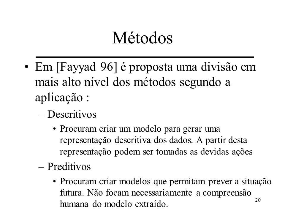 20 Métodos Em [Fayyad 96] é proposta uma divisão em mais alto nível dos métodos segundo a aplicação : –Descritivos Procuram criar um modelo para gerar