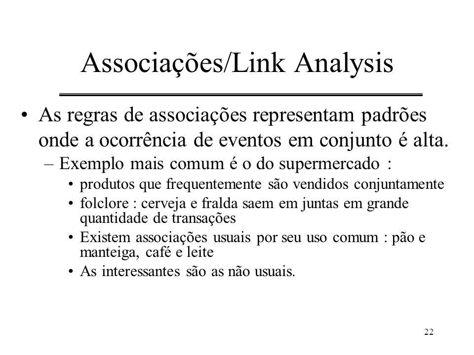 22 Associações/Link Analysis As regras de associações representam padrões onde a ocorrência de eventos em conjunto é alta. –Exemplo mais comum é o do