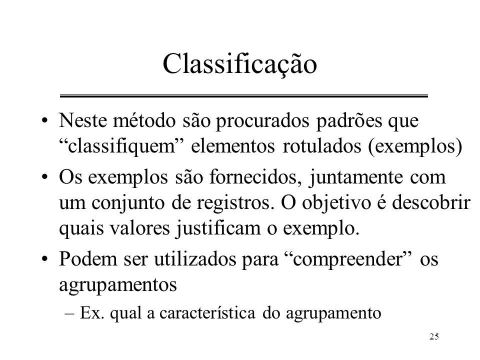 """25 Classificação Neste método são procurados padrões que """"classifiquem"""" elementos rotulados (exemplos) Os exemplos são fornecidos, juntamente com um c"""