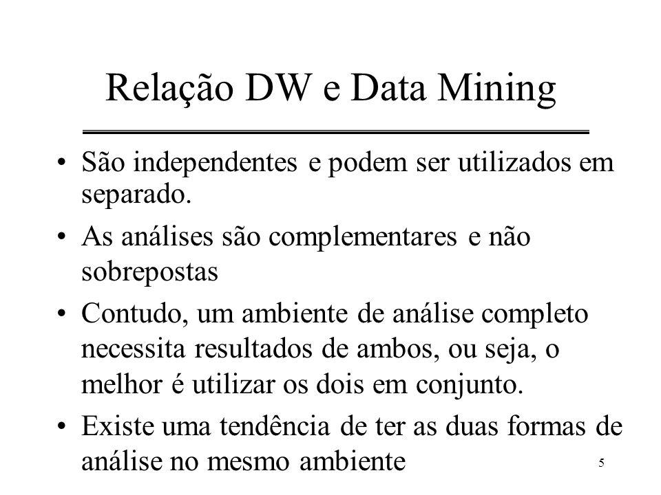 5 Relação DW e Data Mining São independentes e podem ser utilizados em separado. As análises são complementares e não sobrepostas Contudo, um ambiente