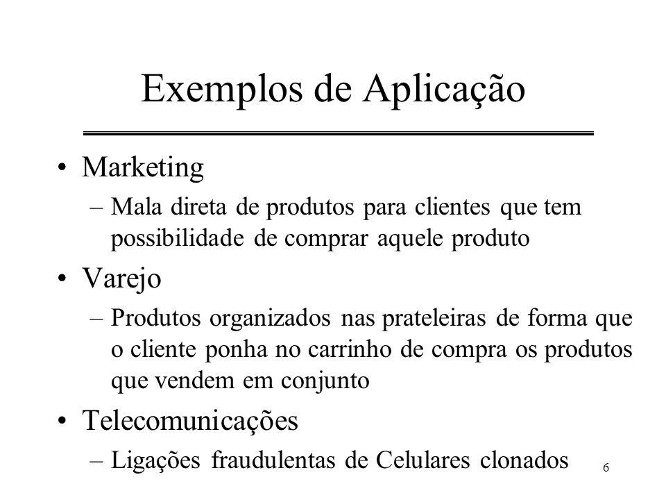 6 Exemplos de Aplicação Marketing –Mala direta de produtos para clientes que tem possibilidade de comprar aquele produto Varejo –Produtos organizados
