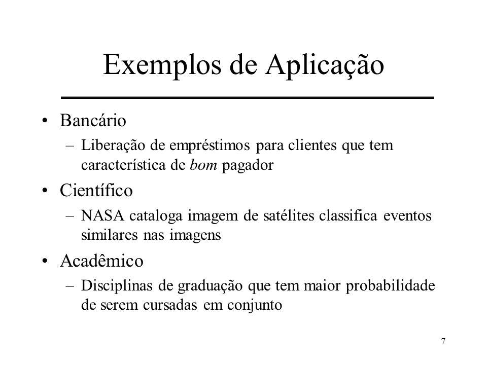 7 Exemplos de Aplicação Bancário –Liberação de empréstimos para clientes que tem característica de bom pagador Científico –NASA cataloga imagem de sat