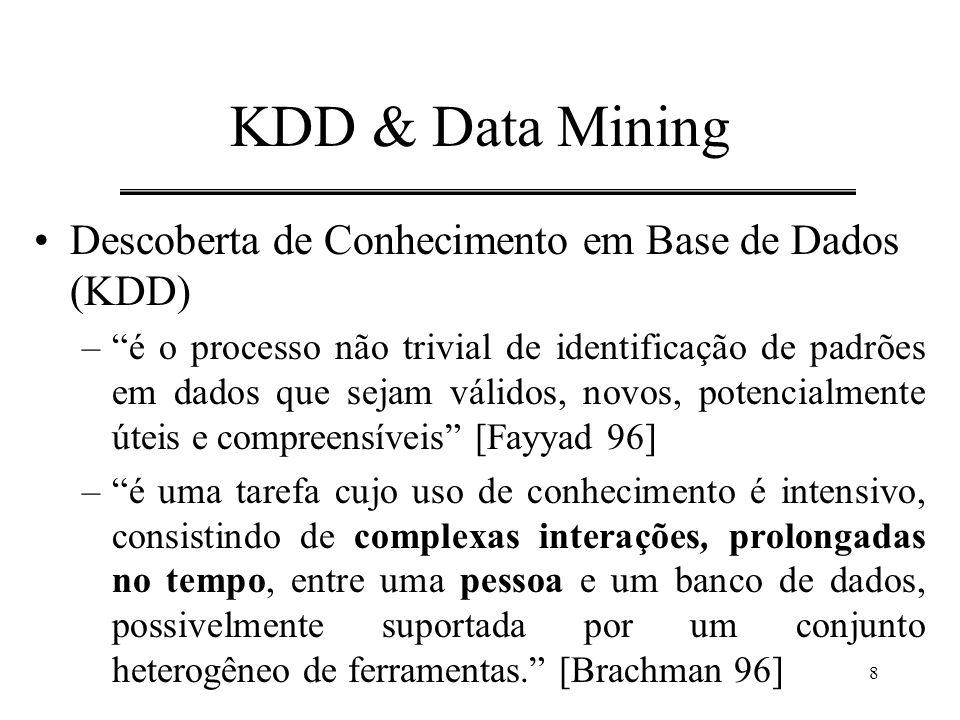 """8 KDD & Data Mining Descoberta de Conhecimento em Base de Dados (KDD) –""""é o processo não trivial de identificação de padrões em dados que sejam válido"""