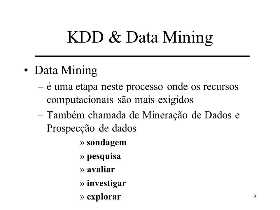 9 KDD & Data Mining Data Mining –é uma etapa neste processo onde os recursos computacionais são mais exigidos –Também chamada de Mineração de Dados e