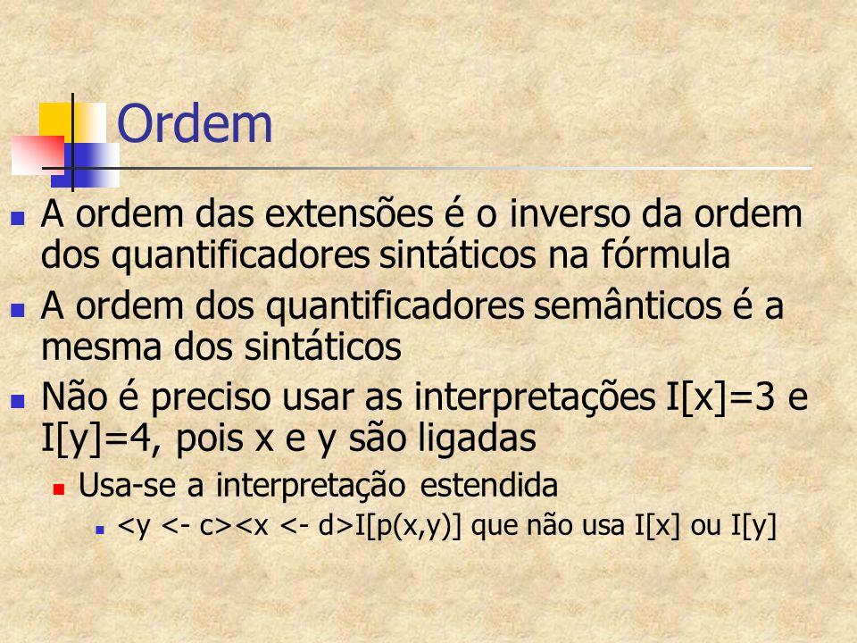 Ordem A ordem das extensões é o inverso da ordem dos quantificadores sintáticos na fórmula A ordem dos quantificadores semânticos é a mesma dos sintát