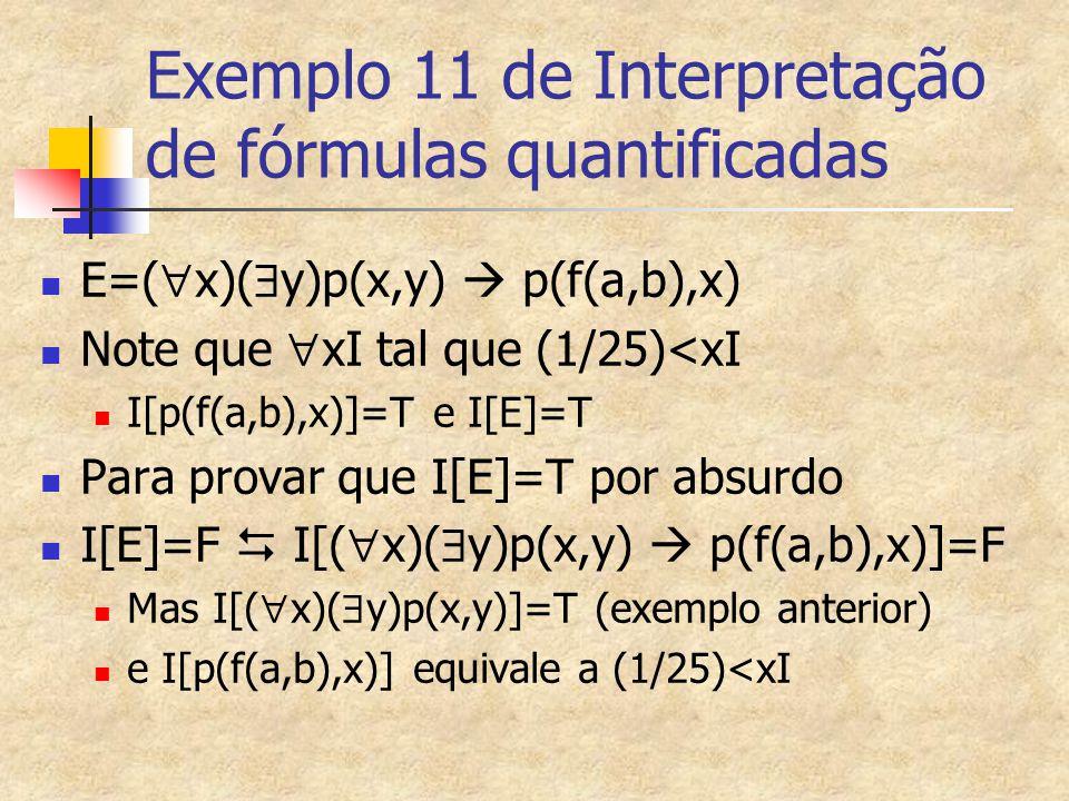 Exemplo 11 de Interpretação de fórmulas quantificadas E=(  x)(  y)p(x,y)  p(f(a,b),x) Note que  xI tal que (1/25)<xI I[p(f(a,b),x)]=T e I[E]=T Par