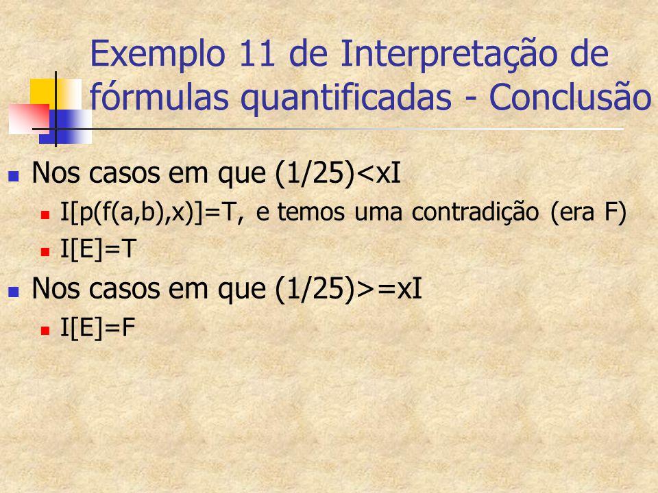 Exemplo 11 de Interpretação de fórmulas quantificadas - Conclusão Nos casos em que (1/25)<xI I[p(f(a,b),x)]=T, e temos uma contradição (era F) I[E]=T