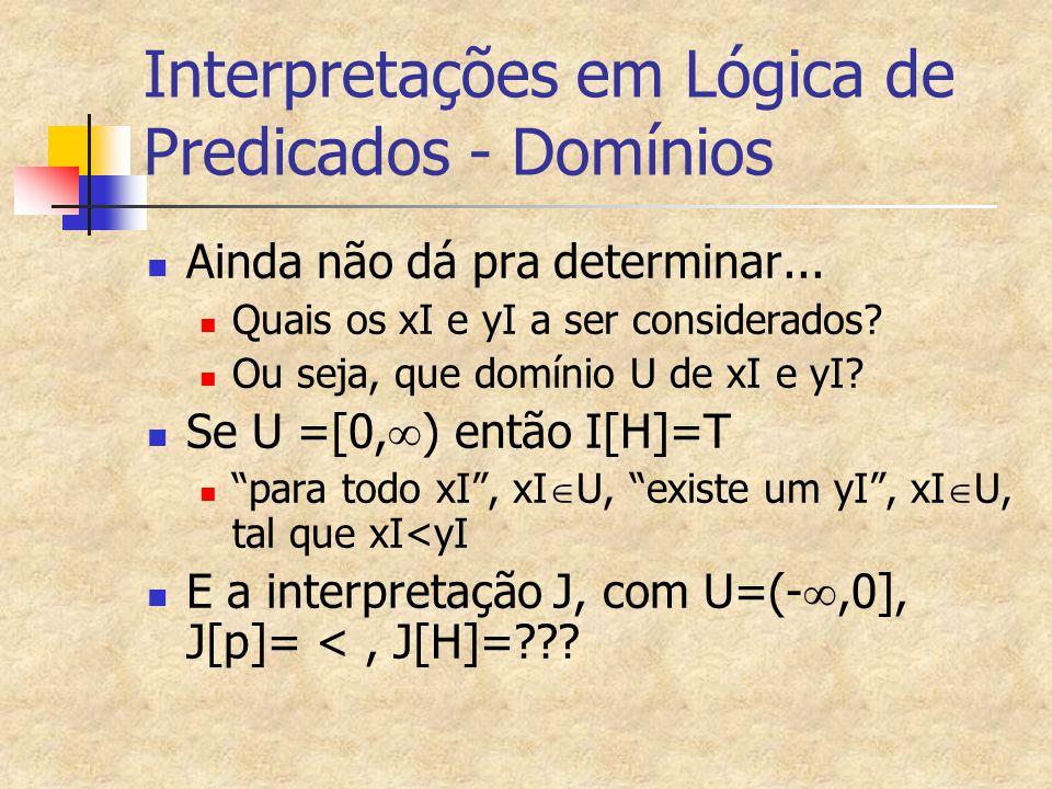 Interpretação de fórmulas – quantificadas Se H é uma fórmula, x uma variável e I uma interpretação sobre U I[(  x)H]=T   d  U; I[H]=T I[(  x)H]=F   d  U; I[H]=F I[(  x)H] =T   d  U; I[H]=T I[(  x)H] =F   d  U; I[H]=F Onde significa interpretação de x como d ou I[x]=d