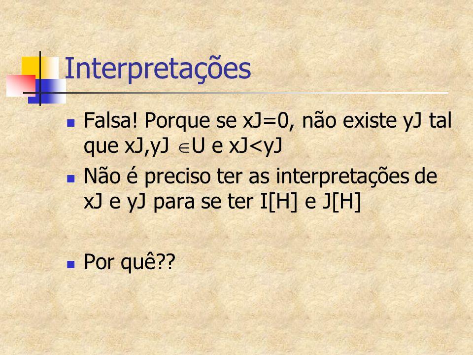 Exemplo 5 de Interpretação de fórmulas quantificadas I em Q* (racionais, exceto o zero) I[a]=1,I[b]=25,I[x]=13,I[y]=77,I[f]=/,I[p]=< H1= (  x)p(x,y) I[H1]=T  I[(  x)p(x,y)]=T   d  Q* I[p(x,y)]=T   d  Q*, d<77 é verdadeiro , ou d<77 é verdadeiro  d  Q* , que é falsa.
