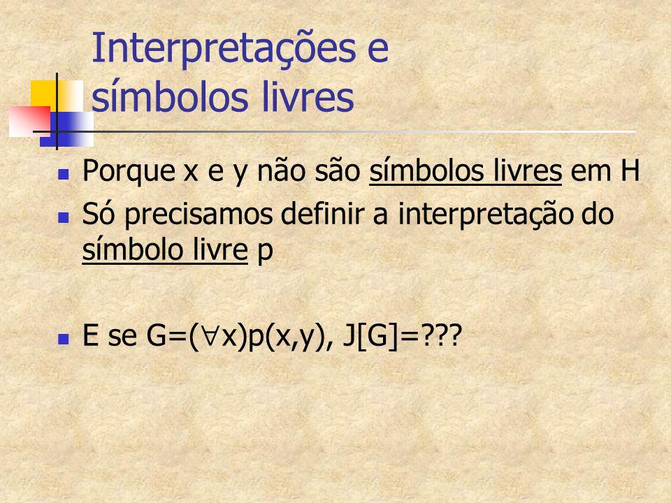 Exemplo 5 de Interpretação de fórmulas quantificadas (cont.) I[H1]=F  I[(  x)p(x,y)]=F   d  Q* I[p(x,y)]=F   d  Q*, d<77 é falso , ou d<77 é falso para algum d  Q* , que é verdadeira.