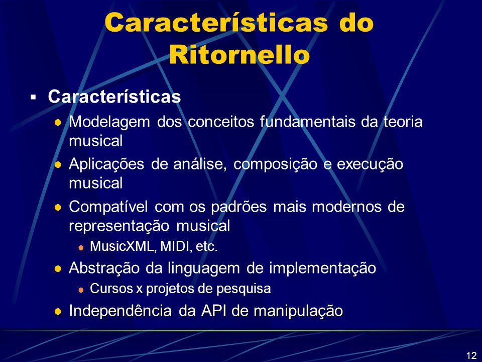 12 Características do Ritornello  Características Modelagem dos conceitos fundamentais da teoria musical Aplicações de análise, composição e execução