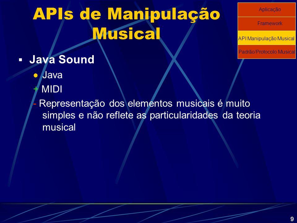 9 APIs de Manipulação Musical  Java Sound Java + MIDI - Representação dos elementos musicais é muito simples e não reflete as particularidades da teo