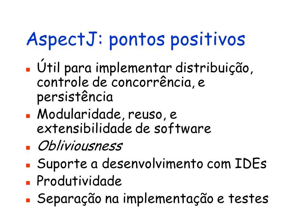 AspectJ: pontos positivos Útil para implementar distribuição, controle de concorrência, e persistência Modularidade, reuso, e extensibilidade de softw