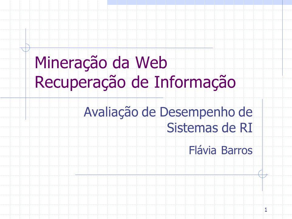 1 Mineração da Web Recuperação de Informação Avaliação de Desempenho de Sistemas de RI Flávia Barros