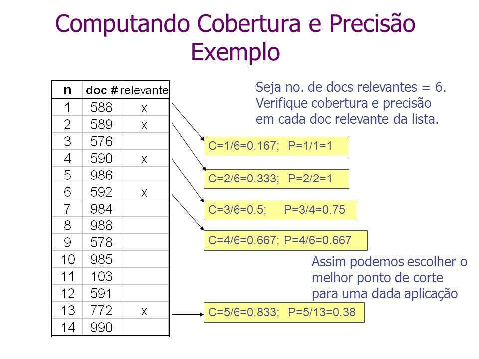 C=3/6=0.5; P=3/4=0.75 Seja no. de docs relevantes = 6. Verifique cobertura e precisão em cada doc relevante da lista. C=1/6=0.167;P=1/1=1 C=2/6=0.333;
