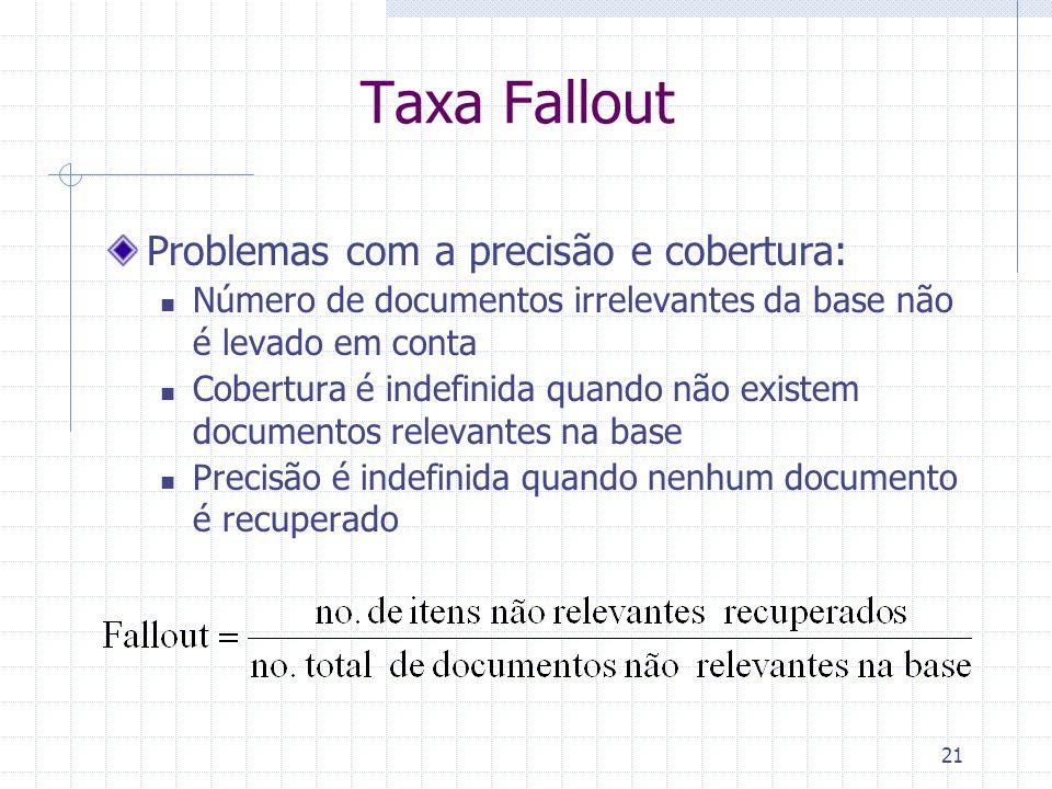 21 Taxa Fallout Problemas com a precisão e cobertura: Número de documentos irrelevantes da base não é levado em conta Cobertura é indefinida quando nã