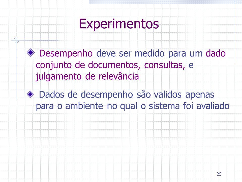 25 Experimentos Desempenho deve ser medido para um dado conjunto de documentos, consultas, e julgamento de relevância Dados de desempenho são validos