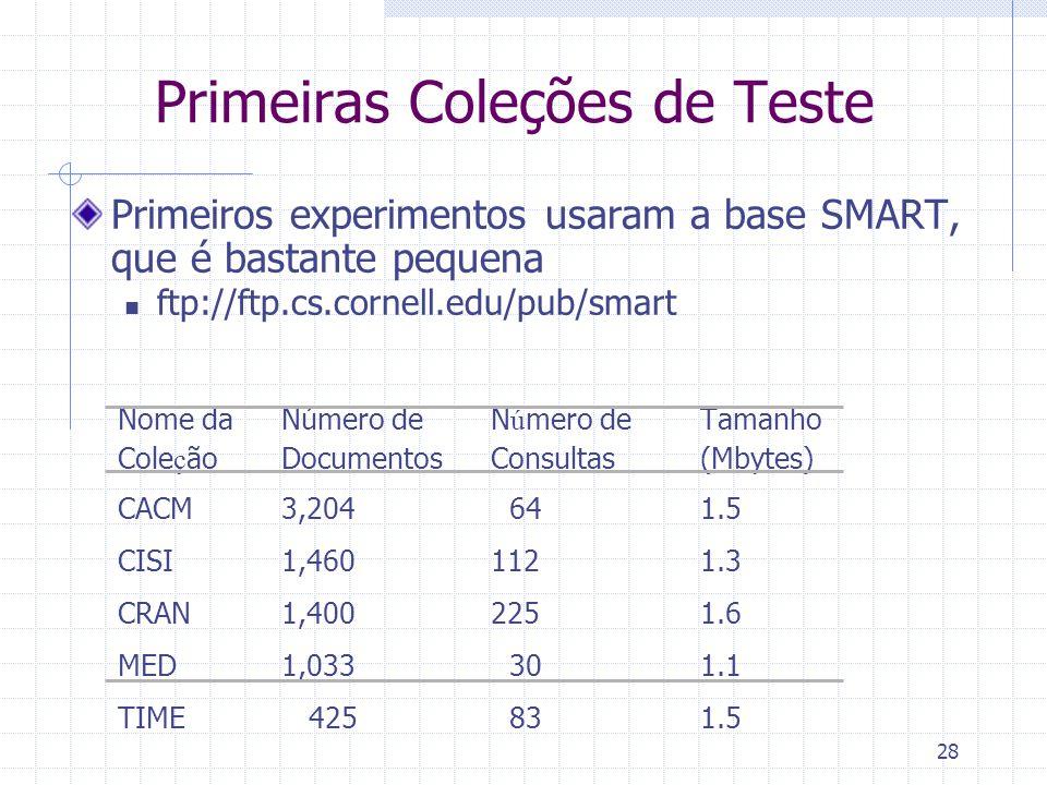 28 Primeiros experimentos usaram a base SMART, que é bastante pequena ftp://ftp.cs.cornell.edu/pub/smart Nome daNúmero de N ú mero de Tamanho Cole ç ã