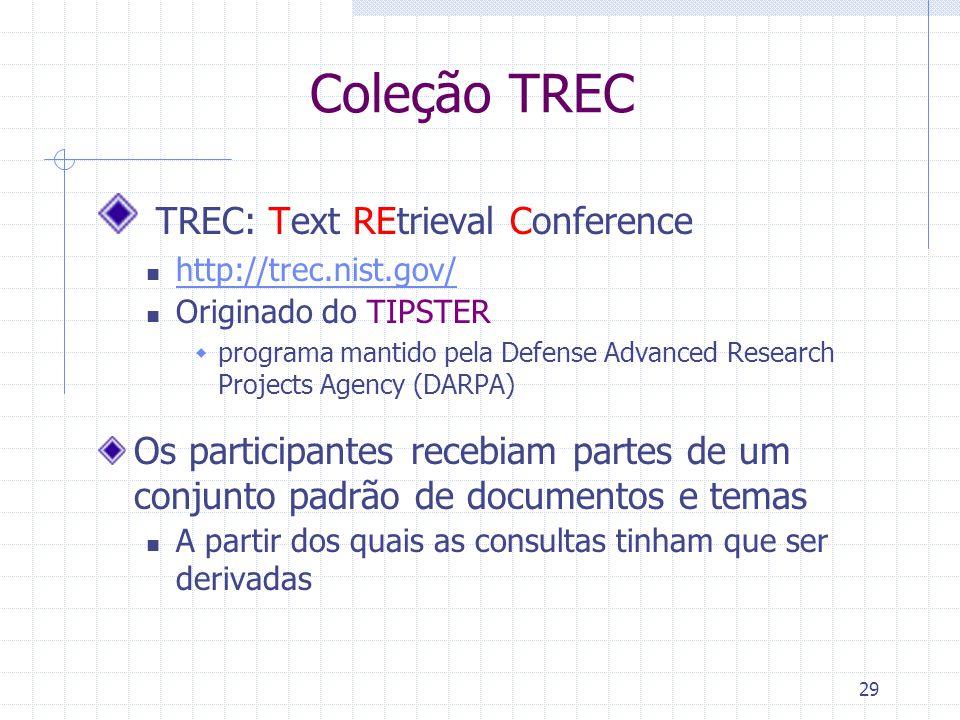 29 Coleção TREC TREC: Text REtrieval Conference http://trec.nist.gov/ Originado do TIPSTER  programa mantido pela Defense Advanced Research Projects